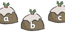 A-Z Alphabet on Christmas Puddings
