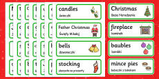 Christmas topic word cards Polish Translation