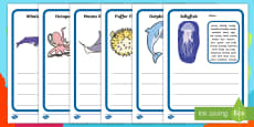 Under the Sea Description Writing Template