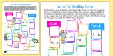 'ea' or 'ie' Spelling Board Game