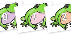 Numbers 0-50 on Green Tree Frog