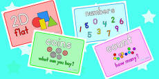 Math Area Display Word Posters