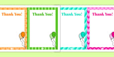 9th Birthday Party Thank You Notes