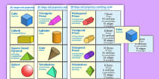 3D Shape and Properties Matching Cards English/Polish
