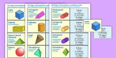 3D Shape and Properties Matching Cards English/Polish