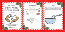 Yummy Melting Snowman Biscuits Recipe Cards