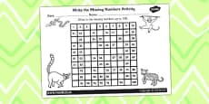Jungle Themed Missing Number Number Square