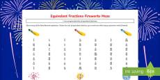 Equivalent Fractions Fireworks Maze Activity Sheet