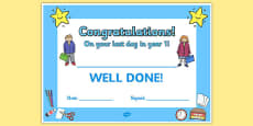 Last Day Award Certificates Year 1