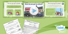 PlanIt - Geography Year 1 - Our School Lesson 5: How Do You Get to School? Lesson Pack