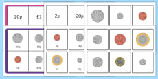 Money Coin Recognition Matching Bingo Game