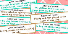 Listen and Repeat 10-11 Word Length Sentence Cards