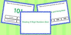 Reading 3 Digit Numbers PowerPoint Quiz