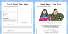 School Report Task Sheet and Differentiated Activity Sheets to Support Teaching on Matilda