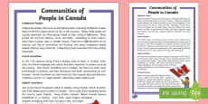 Communities of People in Canada Fact File