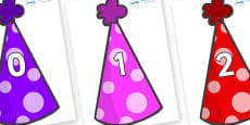 Numbers 0-31 on Party Hats