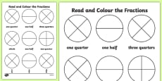 Year 1 Read and Colour a Fraction Activity Sheet