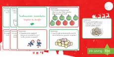 * NEW *Tarjetas de desafío de matemáticas de atención a la diversidad: La sustracción navideña