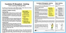 Foundation PE (Reception) - Catching Home Learning Challenge Sheet