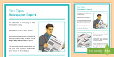 Features of a Newspaper Report Display Poster