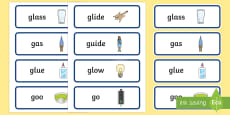 'gl' and 'g' Near Minimal Pair Word Cards