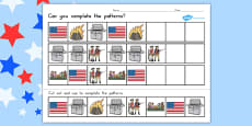 Independence Day Complete the Pattern Worksheet