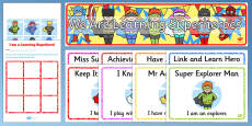 Ready Made Superhero Themed Characteristics of Effective Learning Display Pack