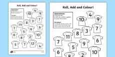 Football Roll And Colour Activity Sheet