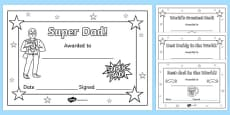 Father's Day Certificates (Colouring)
