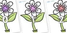 Numbers 0-31 on Flowers