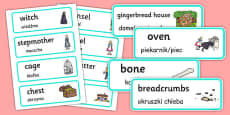 Hansel and Gretel Word Cards Polish Translation