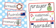 Australia - Anzac Day Word Cards
