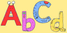Monster Alphabet Display Lettering