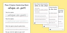 Phase 3 Captions Handwriting Worksheets