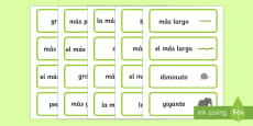 Size Word Cards Spanish