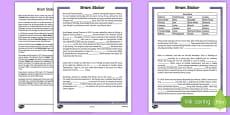 Bram Stoker 5th and 6th Class Cloze  Activity Sheet