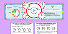 Telling the Time Quarter Past, Half Past, Quarter to Task Setter PowerPoint and Activity Sheets Polish Translation