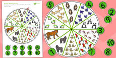 Peg Number Matching Activity Jungle and Rainforest-Themed