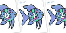 Numbers 0-31 on Rainbow Fish to Support Teaching on The Rainbow Fish
