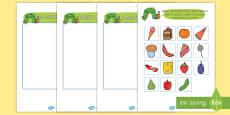 Tarjetas de clasificar la comida sana para ayudar la enseñanza de: La oruga glotona