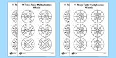 11 Times Table Multiplication Wheels Activity Sheet Pack