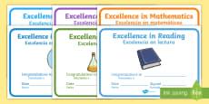 End of Year Award Certificates English/Spanish