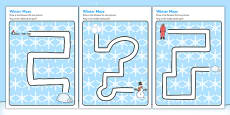 Winter Pencil Control Path Activity Sheets
