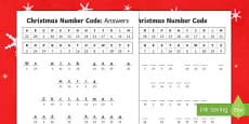 Cryptic Christmas Code Numbers Differentiated Activity Sheets