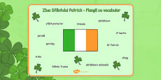 St Patrick's Day Word Mat Romanian