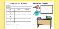 Estimate and Measure Activity Sheet