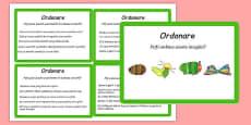 Citirea ghidată, ordonarea evenimentelor - Cartonașe cu activități