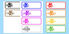 Editable Drawer - Peg - Name Labels (Colours)