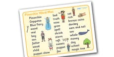 Pinocchio Word Mat (Text)