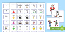 * NEW * Winter Pictures with Matching Sentence Building Cards English/Polish